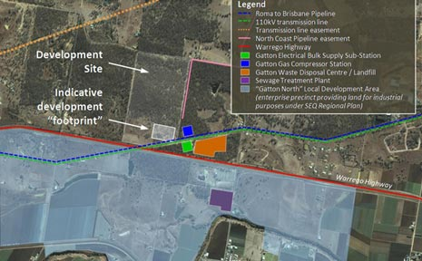 PROPOSED SITE. An aerial view of the proposed site for a gas fired power station near Gatton.