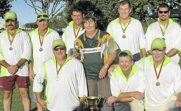 Terror Bulls with the trophy after taking out the Bundaberg Veterans Cricket Carnival.
