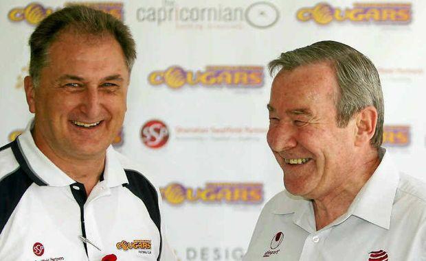 Football Queensland chief executive Geoff Foster shares a joke with CQ development officer Joe Fenech.