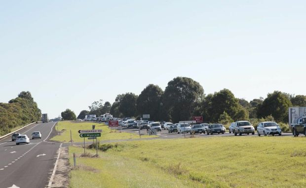 A truck roll-over on the Pacific Highway at Ewingsdale last night caused extensive delays throughout the day.