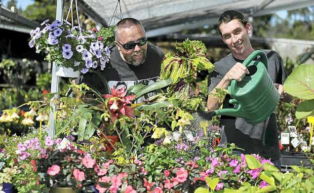 Lismore Garden Centre owner David Manby (left) and staff member Cameron Johns enjoy the autumn sunshine.
