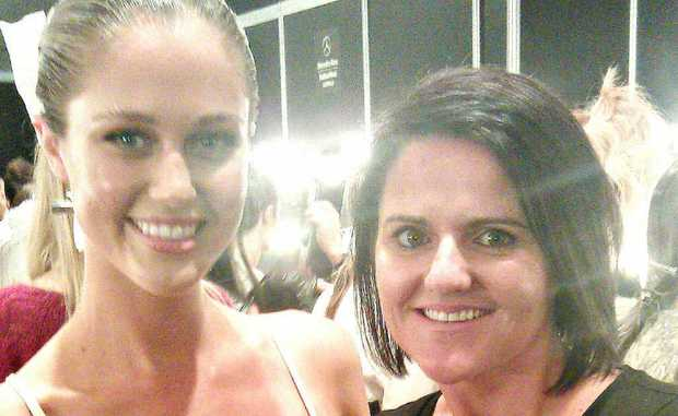 Pacific Paradise hairdresser Nicole Cook with Miss Australia 2011 Scherri-Lee Biggs.