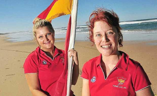 Jupiters Summer Surf Girl entrants Alicia Tickner from Marcoola, left, and Shannyn Lovell from Peregian.