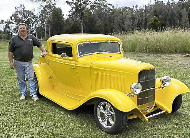 Ian 'Elvis' Davis and the 1932 Ford 3-window coupe he built from scratch.