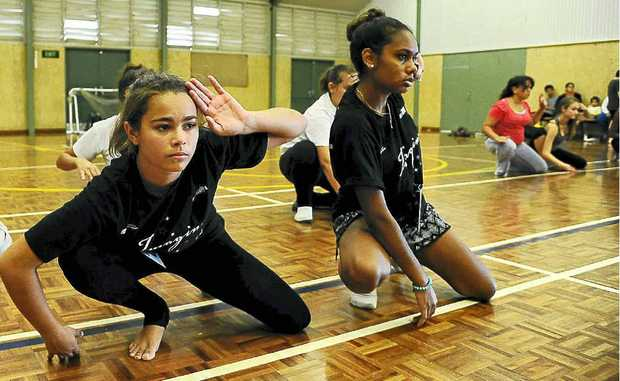 South Grafton High students Keanah Scholes and Alinta Dutton made it through to the next round and are pictured during their dance routine.