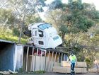 Emergency services attend the scene of an accident involving a truck on Pacific Highway, near Kennedys Lane at Ewingsdale.