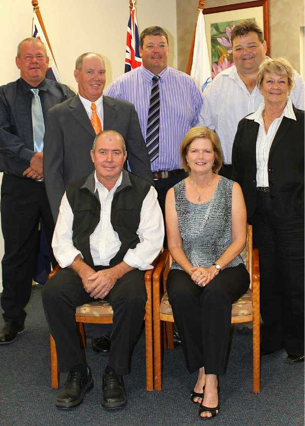 Councillors Dave Clark, Kevin Collins, Andrew Wilcox, John Collins and Jan Clifford and (front) Deputy Mayor Peter Ramage and Mayor Jenny Whitney.