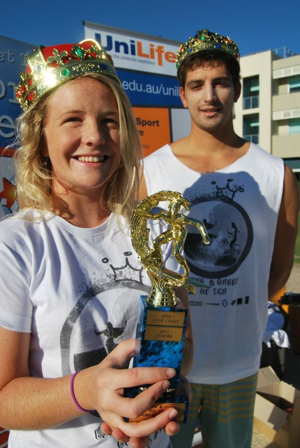 SURF ROYALTY:Michelle Connellan and Josh taylor try out the crowns.   Photo:Mairi Manley