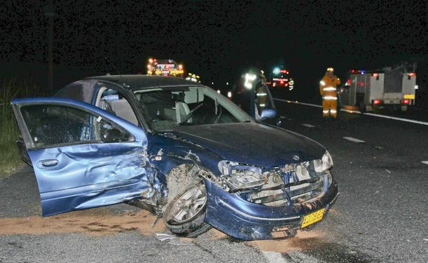 The Nissan Pulsar involved in a two car collision in front of the Harwood Roadhouse on Sunday night.