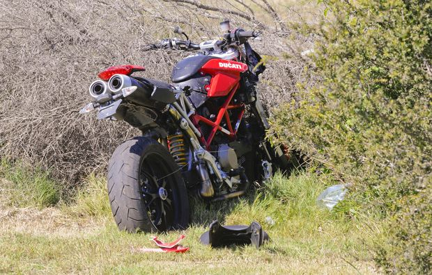 A motorcyclist involved in a high-speed pursuit crashed near Musk Valley Creek, south of Grafton.