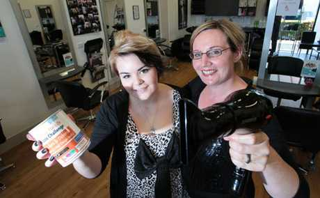 LOSE FOR LIFE: Laura Harvey and Deborah Smith from Company 1 Hair Design have been fundraising and losing weight for Losing for Life.