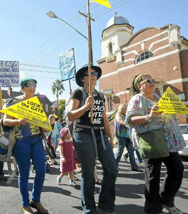 Local residents marching along Bounty St in Lismore.