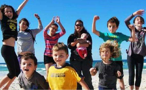 Mum Sarah Guinea with children Sarah-Jane, Lillian, Felicity, Stephanie, James, Matthew, Amelia, Charley and Sophie.