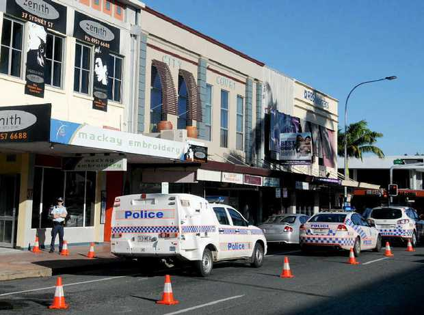 Police cordoned off a section of Sydney St on Saturday afternoon, after a suspicious fire in a rubbish bin caused damage to Clicknet Cafe.