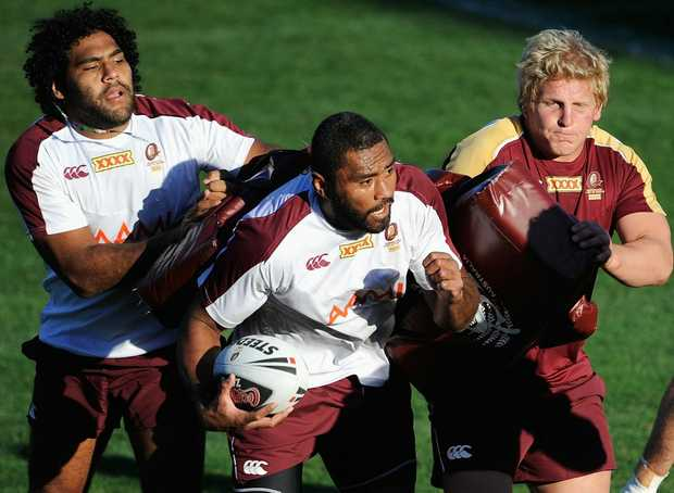Sam Thaiday (left), Petero Civoniceva and Ben Hannant during a Maroons State of Origin training session.