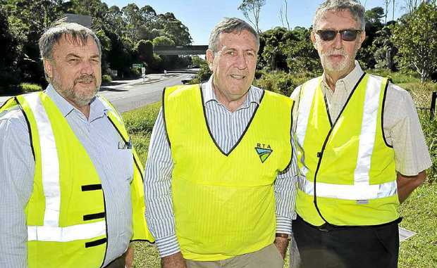 Bob Higgins (left), Duncan Gay and Tony Hart announcing the preferred option for the Bangalow interchange.