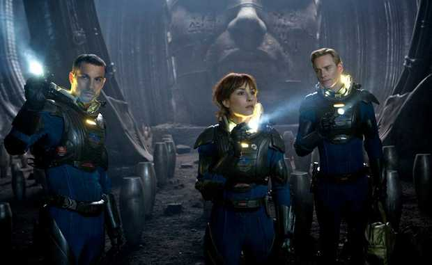 Logan Marshall-Green, left, Noomi Rapace and Michael Fassbender in a scene from the movie Prometheus. The film comes out June 7.