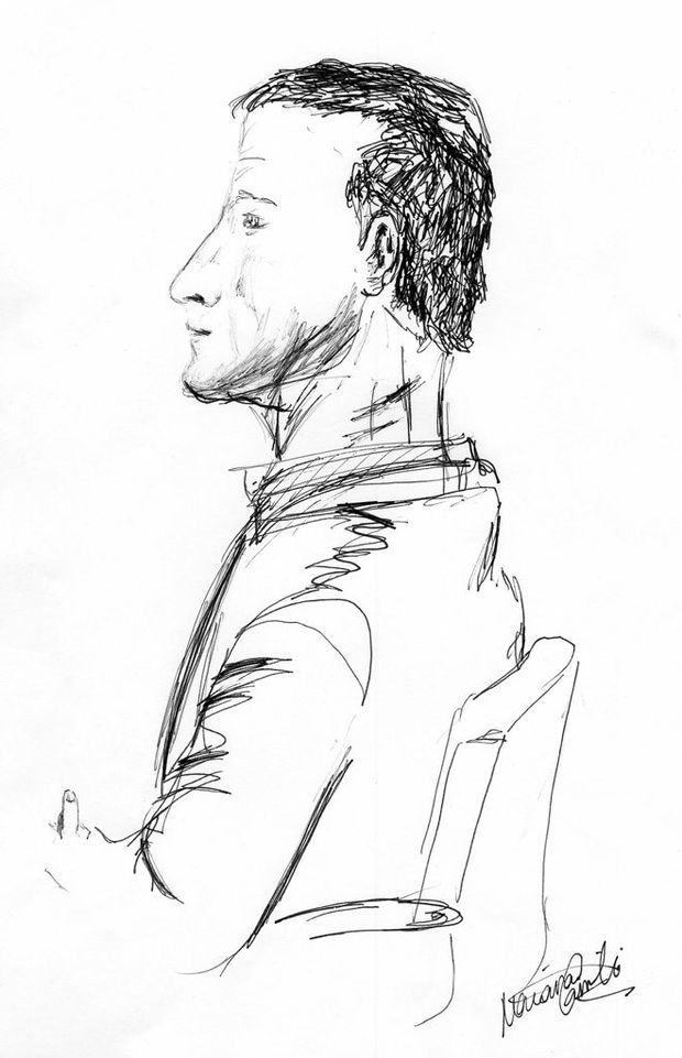 An artist's sketch of Mark Anthony Gillon as he sat in court this week.