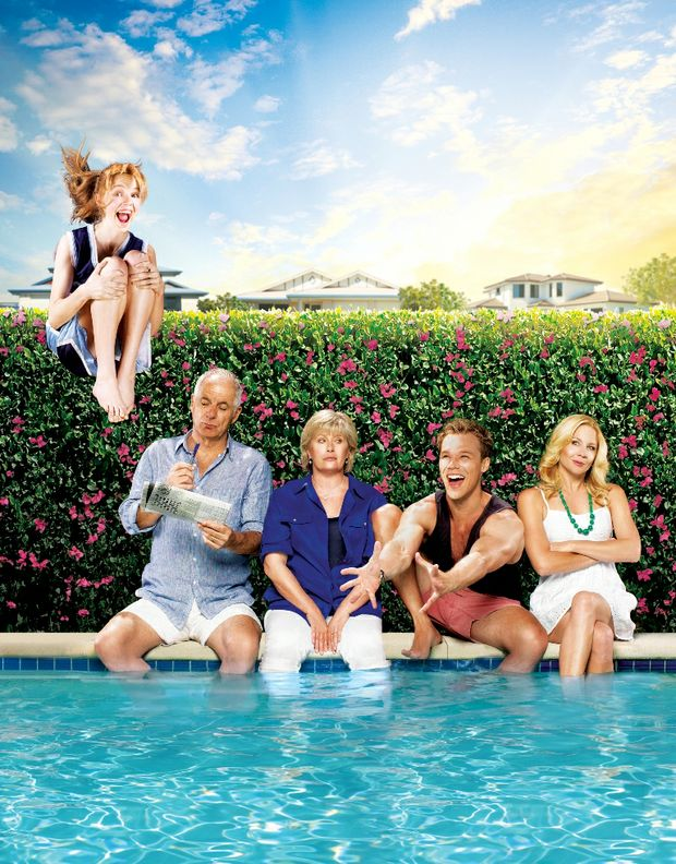 The cast of TV series Tricky Business, from left, Odessa Young, Shane Bourne, Debra Byrne, Lincoln Lewis and Gigi Edgley.