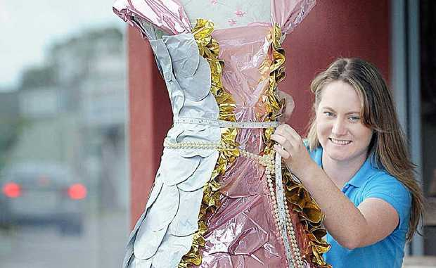 Stacey Taplin shows off her balloon dress that took out first place in the wearable fashion section at the Australasian Balloon Convention.