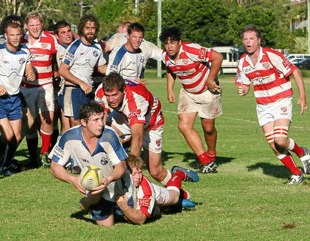 LOOKING TO UNLOAD: Byron Bay's Michael Armstrong looks to clear in the battle against Grafton, which the Bay won 25-15.