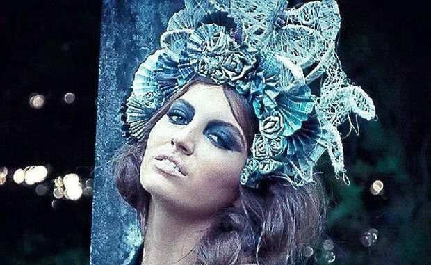 Model Cacharel Caswell wears Hannah Graham's winning headpiece.