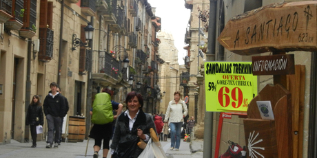 A shop sign in Viana points the way to journey's end at Santiago.