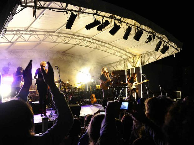 The McClymonts open up their album launch show at the Grafton Racecourse.