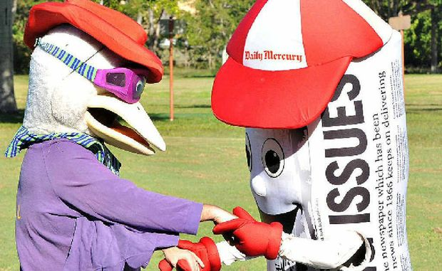 Cancer Council Queensland's Sid the Seagull and the Daily Mercury's Merc Man get ready for this weekend's Relay for Life event. They will go head to head in a mascot race.