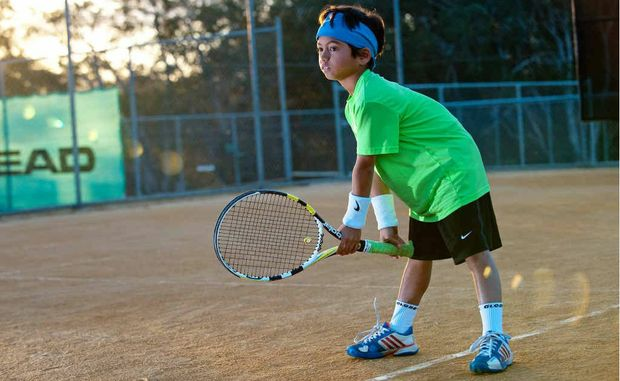 Nine-year-old tennis star Ralph Armstrong, at Sawtell courts.