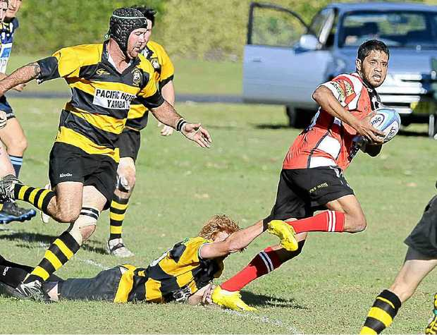 Cossack Eric Walker in the Head of The Clarence Rugby Union clash against the Yamba Buccaneers on Saturday.