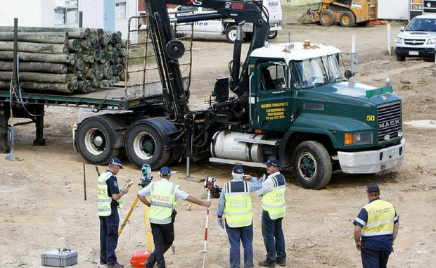 The scene where a 19-year-old man was killed at a construction site at Westside Christian College in Goodna yesterday.