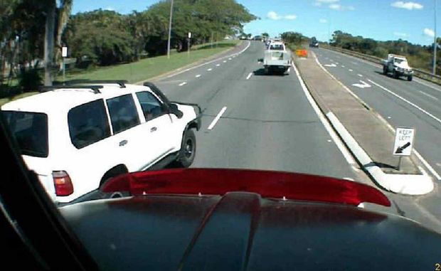 More and more motorists are using fixed video cameras on the front and back of their vehicles to record their trips. The imagery is downloaded to be later used as evidence in the case of a crash. These contributed images, taken by a truck driver on Nebo Rd and the Peak Downs Hwy, show some of the alarming moves drivers see on a regular basis.