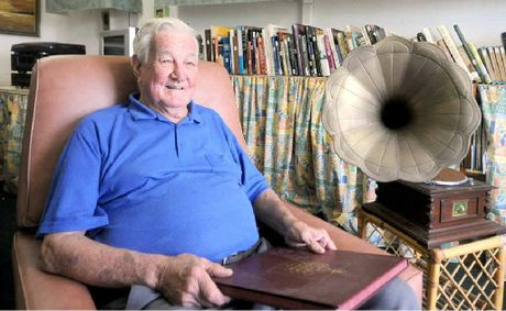 Gordon Noscov is selling his vast collection of old records, including his 78rpm records and a gramophone.