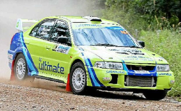 Michael Clarke goes for broke yesterday at the International Rally of Queensland.