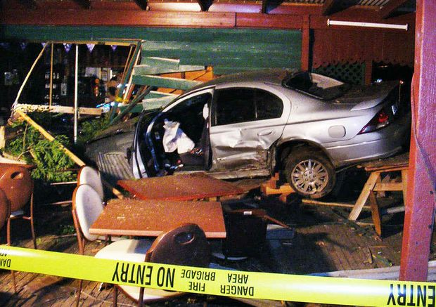 The Mulgowie Hotel was extensively damaged when an allegedly drunk driver drove into the property metres from patrons.