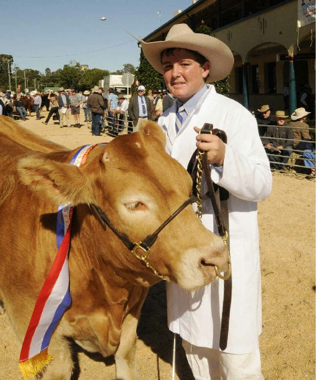 Champion led steer went to Holly Trinity school at Inverell. Student Mitchell with the champion, Bandit.