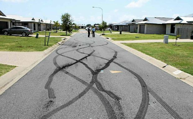 HOON STREET: Turnbuckle St in Shoal Point was left covered in tyre marks after hoons had been there.