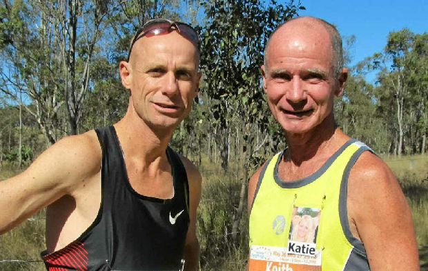 Steve Moneghetti with Keith Stevenson at the Pentath-run.