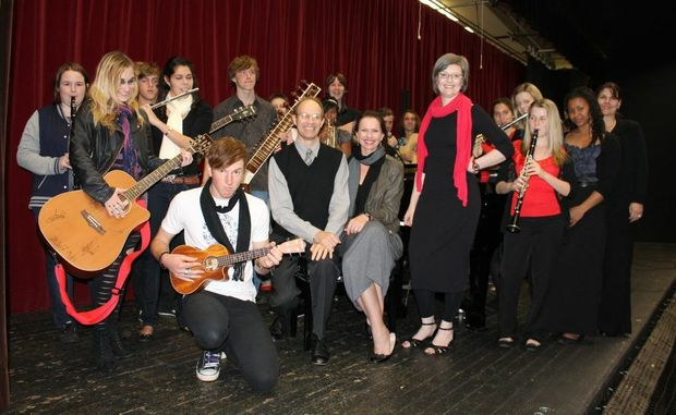 First year USQ music students with their team of lecturers (from left) Dr Phillip Gearing, Alison Riethmuller and Melissa Forbes.