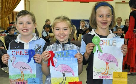 Krysta Jamieson, first place, Emily Mauch, second, and Madeline Bullock, third, for the CWA colouring-in competition for year 2.