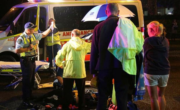 A lady was treated by ambulance staff after being struck by a car near Northside Shopping Centre on Wednesday night.