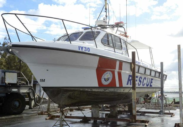 The new Marine Rescue NSW boat, damaged after colliding with the middle wall at Yamba on May 22.