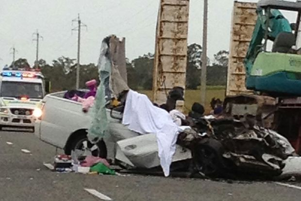 The aftermath of Thursday morning's fatal traffic accident.