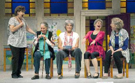 Six of Australia's favourite actresses come together in a wonderful comedy. Pictured left to right Donna Lee, Maggie Blinco, Linden Wilkinson, Julie Hudspeth and Annie Byron.