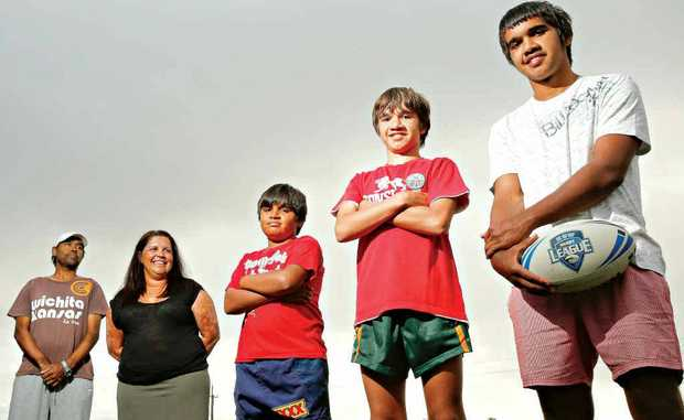 Abby and Glenda Roberts with their rugby league playing kids (from left) Tate, 9, Blake, 12, and Ethan, 15.