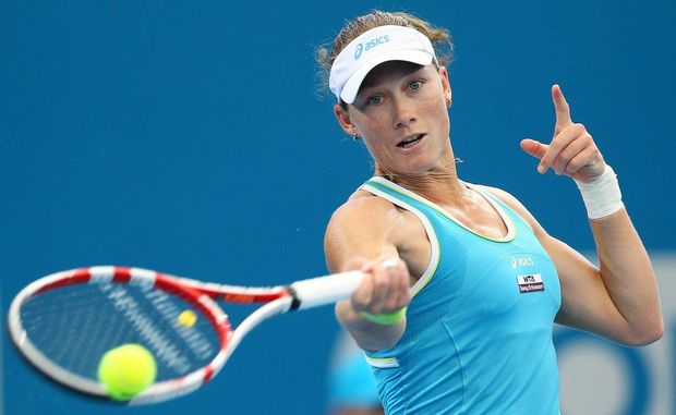 Sam Stosur of Australia plays a shot against Iveta Benesova during day four of the 2012 Brisbane International at Pat Rafter Arena on January 4, 2012 in Brisbane, Australia.