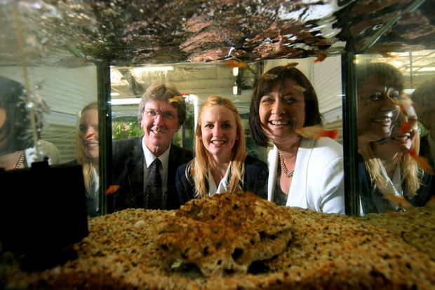 Murwillumbah High School principal Warwick Simmons with school captain Eloise Smith and local MP Justine Elliot.