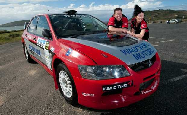 Michael and Helen Boaden with the Boaden Motorsport Lancer.