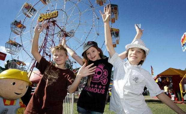 Dalton Blake, Jourdan Marden-Ryle and Harlin Blake have fun in sideshow alley at the Caboolture Show. Photo Vicki Wood / Caboolture News